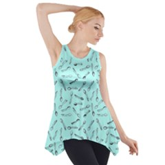 Spoonie Strong Print In Light Turquiose Side Drop Tank Tunic by AwareWithFlair