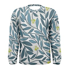 Blue Floral Design Men s Long Sleeve Tee