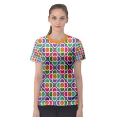 Modernist Floral Tiles Women s Sport Mesh Tee by DanaeStudio