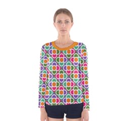 Modernist Floral Tiles Women s Long Sleeve Tee