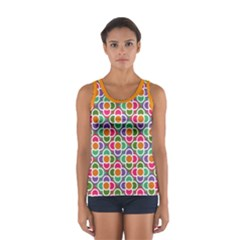 Modernist Floral Tiles Women s Sport Tank Top