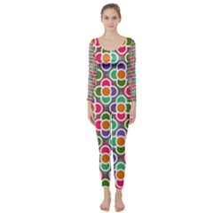 Modernist Floral Tiles Long Sleeve Catsuit