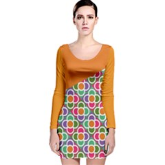 Asymmetric Orange Modernist Floral Tiles Long Sleeve Velvet Bodycon Dress by DanaeStudio