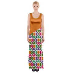 Asymmetric Orange Modernist Floral Tiles Maxi Thigh Split Dress