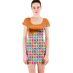 Asymmetric Orange Modernist Floral Tiles Short Sleeve Bodycon Dress