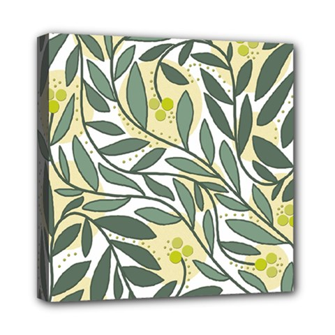 Green Floral Pattern Mini Canvas 8  X 8  by Valentinaart