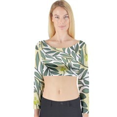 Green Floral Pattern Long Sleeve Crop Top