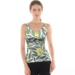 Green Floral Pattern Tank Top by Valentinaart