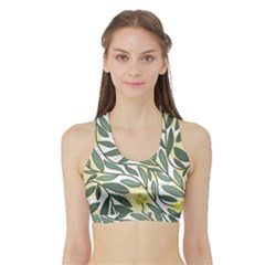 Green Floral Pattern Sports Bra With Border by Valentinaart