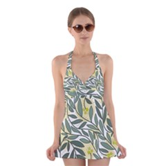 Green Floral Pattern Halter Swimsuit Dress by Valentinaart