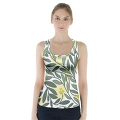 Green Floral Pattern Racer Back Sports Top by Valentinaart