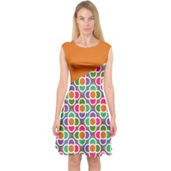Asymmetric Orange Modernist Floral Tiles Capsleeve Midi Dress