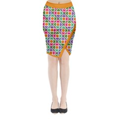 Modernist Floral Tiles Midi Wrap Pencil Skirt