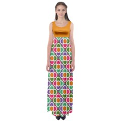 Modernist Floral Tiles Empire Waist Maxi Dress