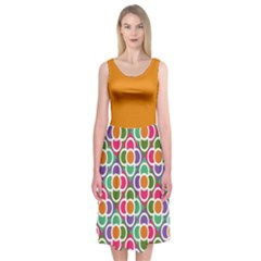 Modernist Floral Tiles Midi Sleeveless Dress