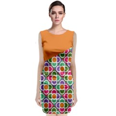 Asymmetric Orange Modernist Floral Tiles Classic Sleeveless Midi Dress