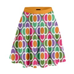 Modernist Floral Tiles High Waist Skirt