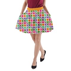 Modernist Floral Tiles A-Line Pocket Skirt