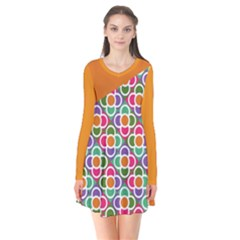 Asymmetric Orange Modernist Floral Tiles Long Sleeve V-neck Flare Dress