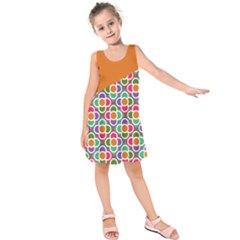Asymmetric Orange Modernist Floral Tiles Kid s Sleeveless Dress