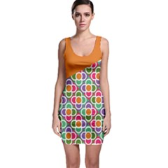 Asymmetric Orange Modernist Floral Tiles Bodycon Dress