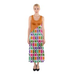 Asymmetric Orange Modernist Floral Tiles Sleeveless Maxi Dress