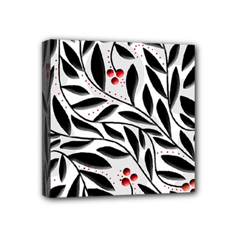 Red, Black And White Elegant Pattern Mini Canvas 4  X 4  by Valentinaart