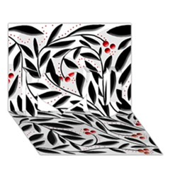 Red, Black And White Elegant Pattern I Love You 3d Greeting Card (7x5)