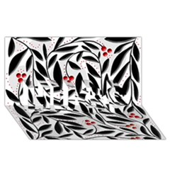 Red, Black And White Elegant Pattern Hugs 3d Greeting Card (8x4) by Valentinaart