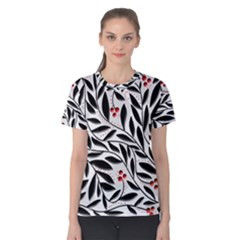 Red, Black And White Elegant Pattern Women s Cotton Tee by Valentinaart