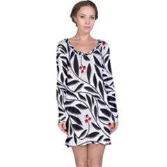 Red, Black And White Elegant Pattern Long Sleeve Nightdress