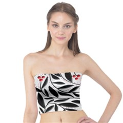 Red, Black And White Elegant Pattern Tube Top