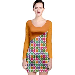 Asymmetric Orange Modernist Floral Tiles Long Sleeve Bodycon Dress