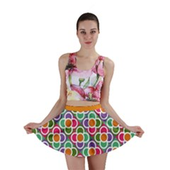 Modernist Floral Tiles Mini Skirt