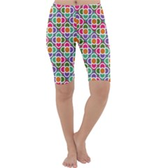 Modernist Floral Tiles Cropped Leggings