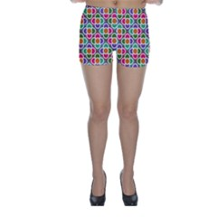 Modernist Floral Tiles Skinny Shorts