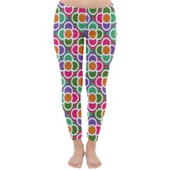 Modernist Floral Tiles Winter Leggings