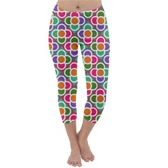 Modernist Floral Tiles Capri Winter Leggings