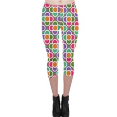 Modernist Floral Tiles Capri Leggings