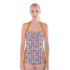 Modernist Floral Tiles Boyleg Halter Swimsuit