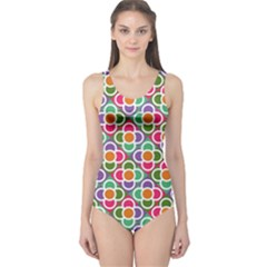 Modernist Floral Tiles One Piece Swimsuit
