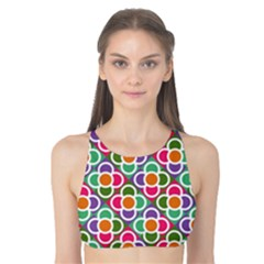 Modernist Floral Tiles Tank Bikini Top