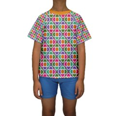 Modernist Floral Tiles Kid s Short Sleeve Swimwear