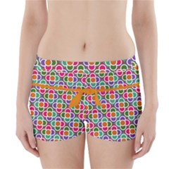 Modernist Floral Tiles Boyleg Bikini Wrap Bottoms