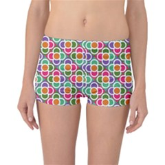 Modernist Floral Tiles Reversible Boyleg Bikini Bottoms