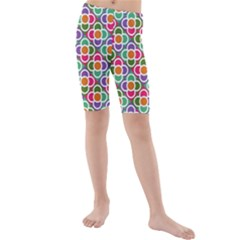 Modernist Floral Tiles Kid s Mid Length Swim Shorts