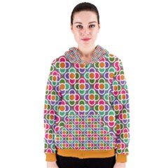 Modernist Floral Tiles Women s Zipper Hoodie