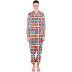 Modernist Floral Tiles Hooded Jumpsuit (Ladies)