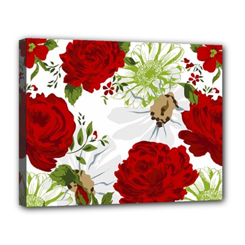Red Roses Canvas 14  X 11  by fleurs