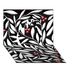 Black, Red, And White Floral Pattern Apple 3d Greeting Card (7x5)